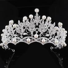 Classic Crystal pearl crown rhinestone tiara bride hairband silver color hair jewelry princess crown fashion wedding accessories