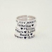 Anillo nombre grabado personalizado regalo de aniversario de compromiso for her, encargo de número romano, personalizado regalo de san valentín