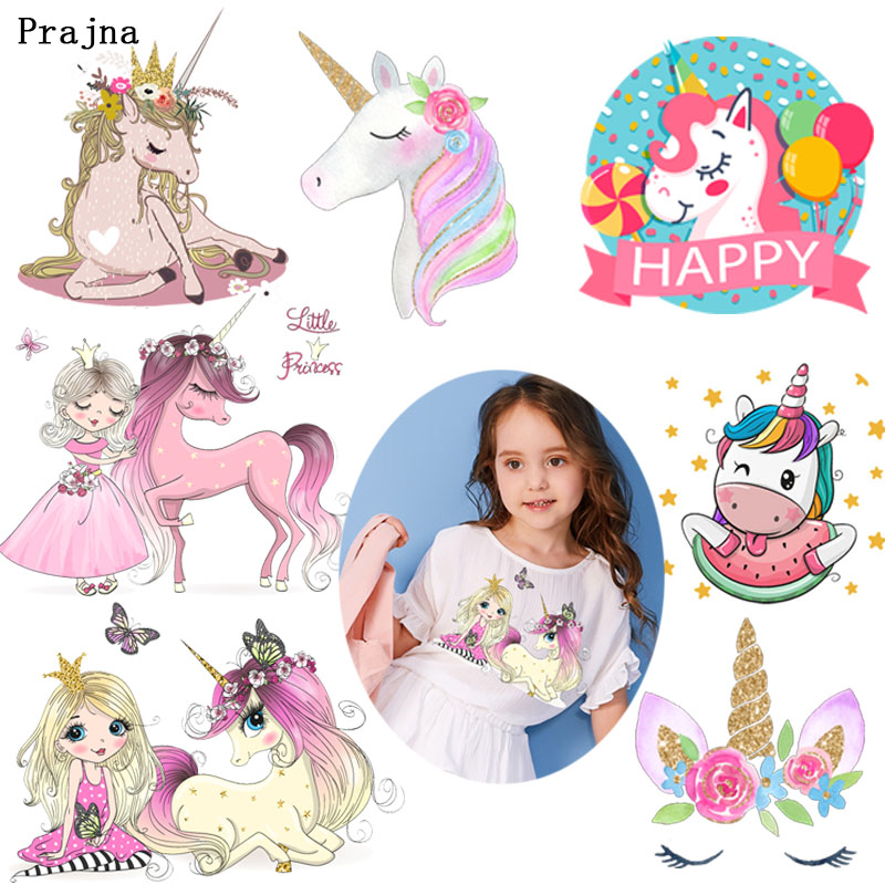 Prajna Princess and Unicorn Thermal Transfer Printing Pink Dress Girl Beauty Unicorns Iron-on Heat for Clothing Kids H
