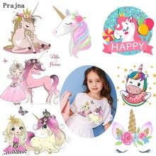 Prajna Princess and Unicorn Thermal Transfer Printing Pink Dress Girl Beauty Unicorns Iron-on Heat for Clothing Kids H