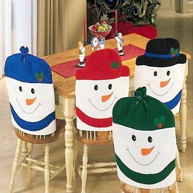 holiday decorative chair covers desk dorm 2016 christmas back cover snowman hat decor for home dinner table kitchen xmas party