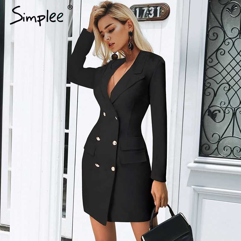 Simplee Elegant double breasted women black dress Ladies office white  blazer dresses plus size Summer bodycon female dress suit
