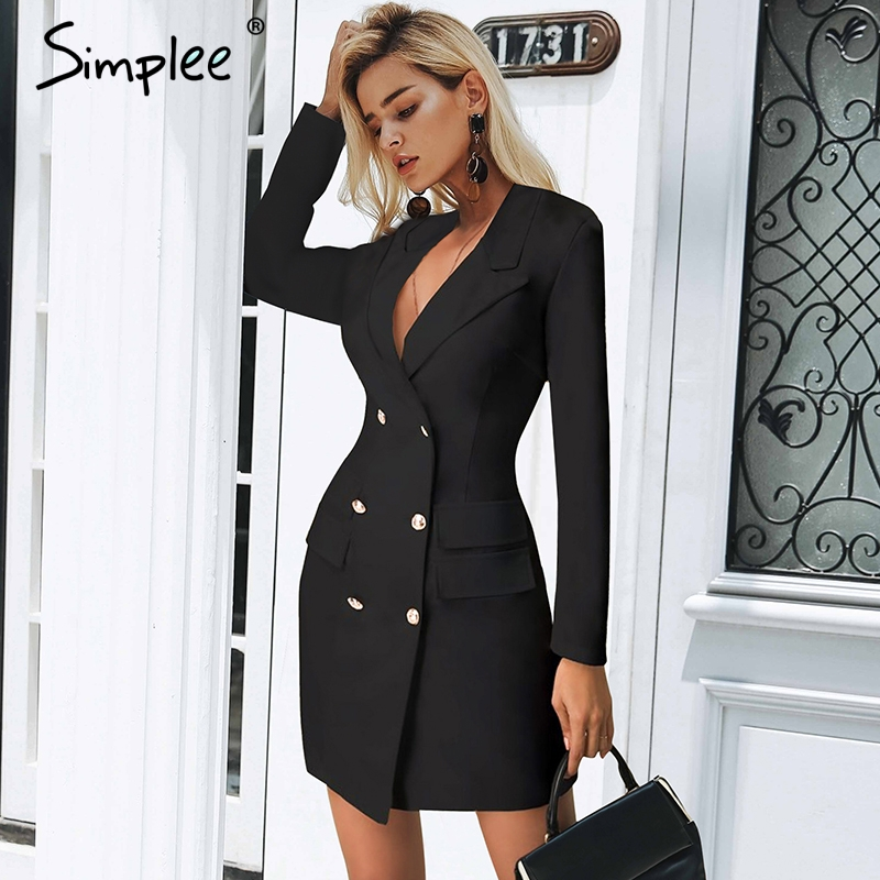 Simplee Elegant double breasted women black dress Ladies office white blazer dresses plus size Summer bodycon female dress suit vestidos de inverno zara 2018
