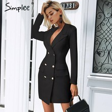Simplee Elegant double breasted women black dress Ladies office white blazer dresses plus size Summer bodycon female dress suit(China)