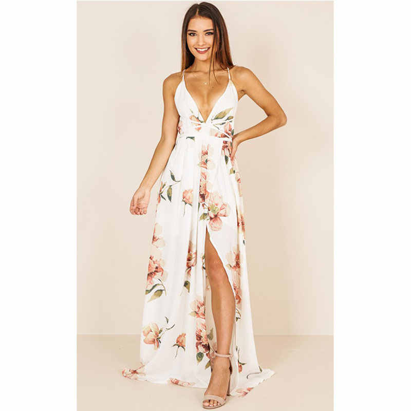691b0e28813b ... New Red Floral Print Beach Dresses Sexy V Neck Women Maxi Party Dress  Summer Split Backless ...