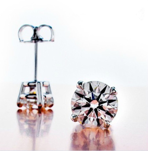stud clarity solitaire shape color round diamond platinum i ij brilliant p carat back prong screw j earrings