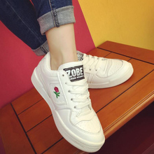 2017 New Girls Spring Autumn Solid Color Low White Casual Brand Women Flat Shoes Fashion Lace Up Shoe Breathable Flat Shoes G650