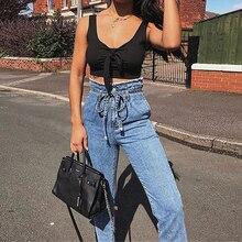 Женские винтажные джинсы с кисточками и высокой талией с поясом, осенние джинсовые брюки-карандаш длиной до щиколотки, брюки, 5 размеров