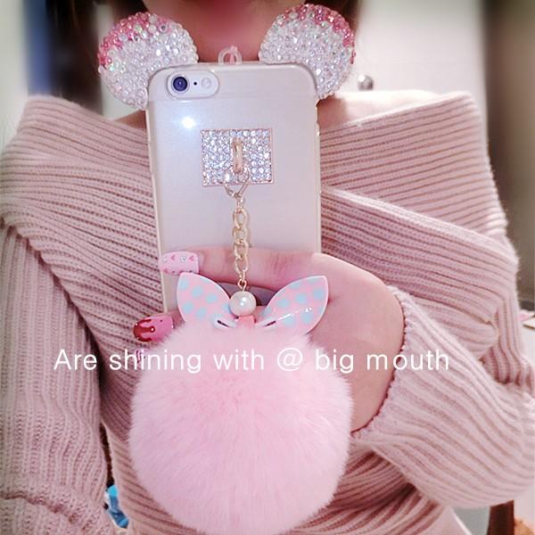 HTB16N4lLXXXXXb0XpXXq6xXFXXXG - for iphone 5 5s SE 6 6s 7 plus Cute 3D Bling Diamond Rabbit ear Fur ball Pompom Tassel Soft Case PTC 218