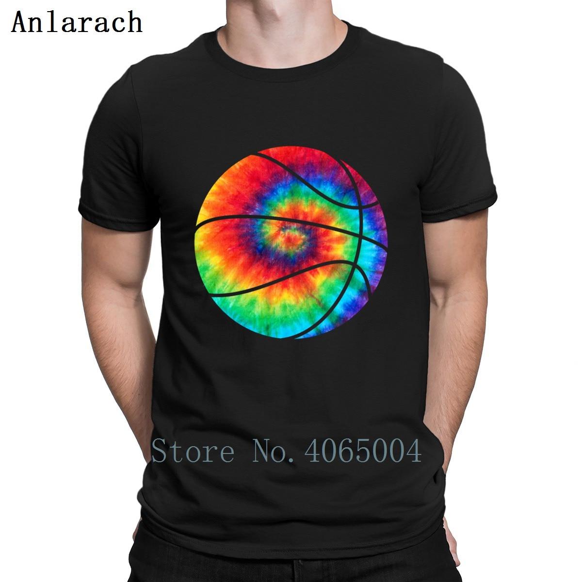 Basketball Tie Dye Rainbow Trippy Hippie T Shirt Cute Spring Print Tee Shirt Letters O Neck Vintage Authentic Shirt