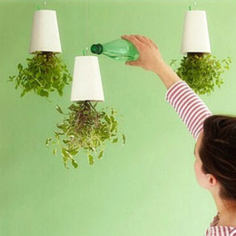 Decorative small hanging plant pot plastic upside down for Decorative hanging pots