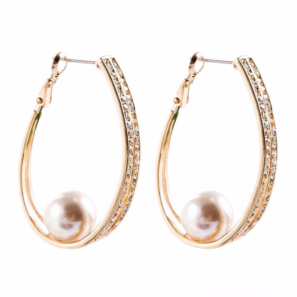Pearl Hoop Earrings With Crystals And Pearl Circle Simple Gold Plated  Hollow Big Round Earrings For