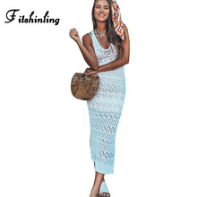 Fitshinling 2018 Knitted beach dresses for women holiday hollow out sexy mid-calf white summer dress sleeveless sundress pareos