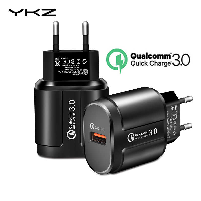 Ykz Pengisian Cepat QC3.0 USB Charger Universal Ponsel Chargeing Dinding Charger Usb Adaptor untuk Iphone Samsung Xiaomi QC 3.0