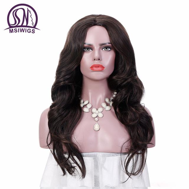 Long Wavy Dark Brown Synthetic Wig