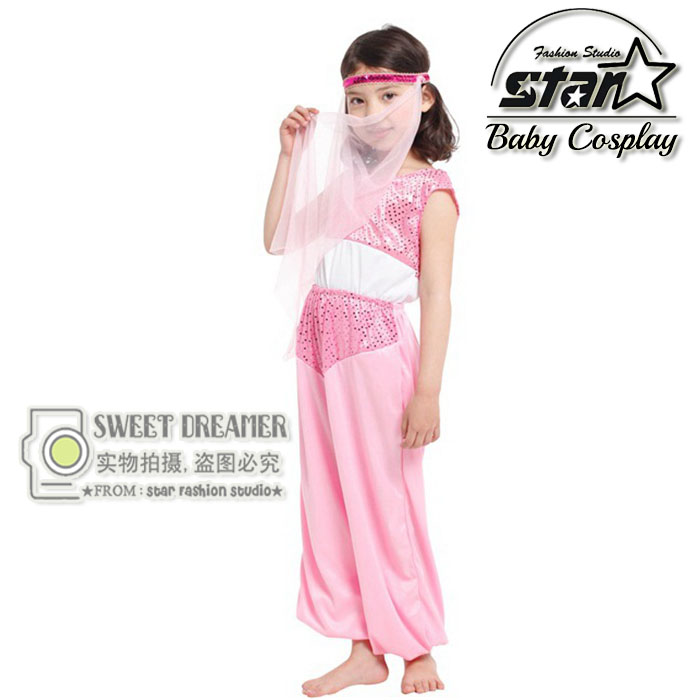 Halloween Cosplay Costume Children Stage Performance Clothing The Arab Princess Suit Carnival Pink Dancing Jumpsuit