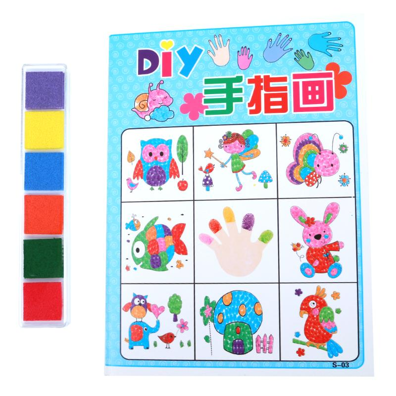 DIY 8Pcs set Cartoon Kid Finger Painting Craft Set Children Colorful Fingerpaint Drawing Education Learning Picture