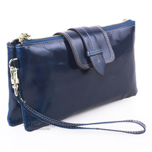 Fashion Large Capacity Genuine Leather wallet women long wallet purse Chain Solid color zipper hasp Cow Leather Clutch bag
