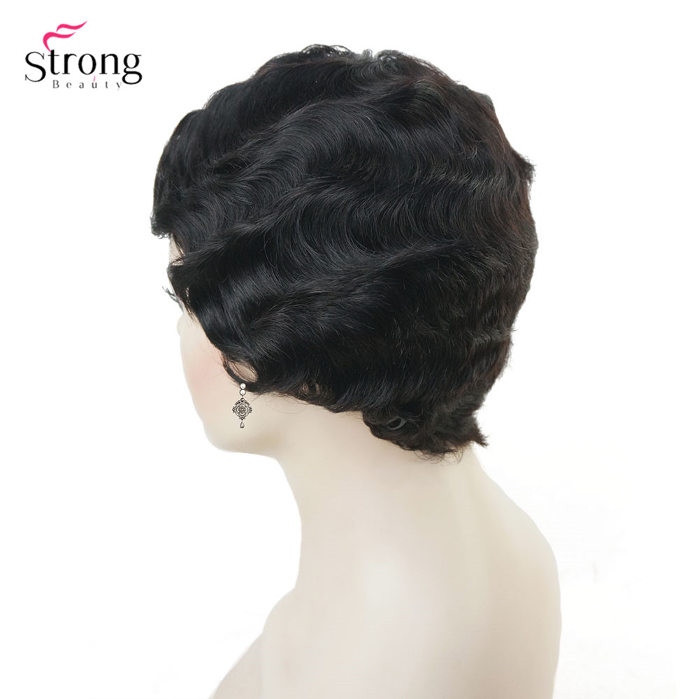 Image 3 - Wine red/Black African Short Finger Waves Hairstyles Human Hair Wig Flapper Hairstyle Wig For Black WomenSynthetic Blend Wigs   -