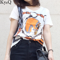 Ky Q 2017 Summer Autumn New Brand Fashion White Pullover Horse Head Print Bouquet Short Sleeve