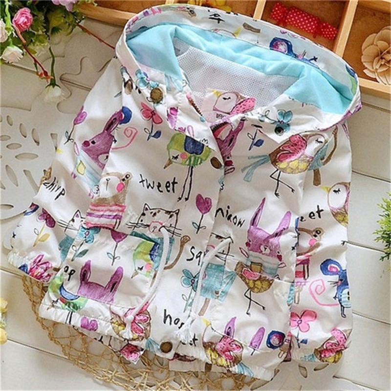 Spring 2018 New Cotton Baby Girls Coat Spend Three Flowers Lollipops Dot Jacket Cardigan Kids Children Clothing Autumn 1