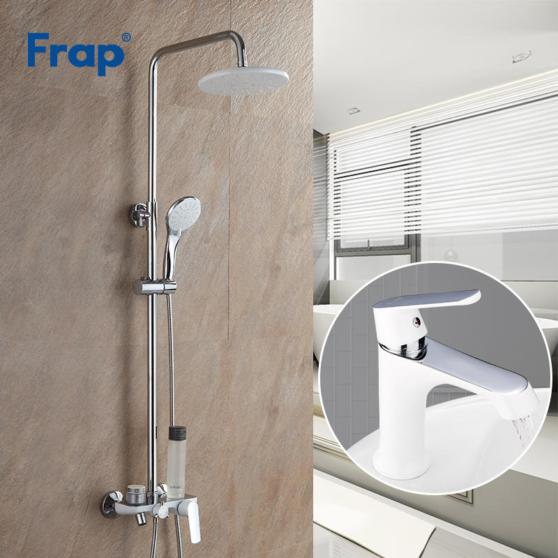 Frap Shower Faucets white bathroom shower faucet bath shower mixer tap faucet rainfall shower panel set basin faucet mixer tap