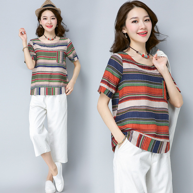 ecb7da673a9 2017 Real Long Tumblr Blusa Wholesale Large Size Women Summer New Art Color  Stripe Cotton Sleeved Loose Ladies T-shirt Jacket