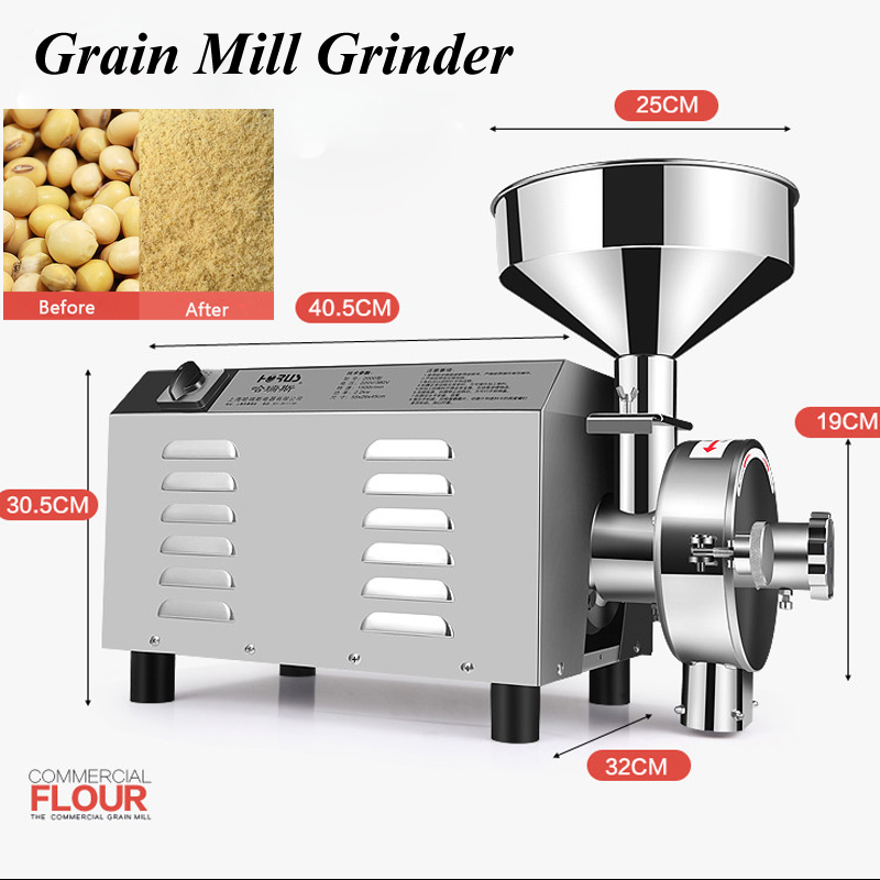 1pc 3000W Superfine Stainless Steel Grain Mill Grinder Commercial Herbal Medicine Pulverizer Dry Grinding Machine Type 3000 high quality 300g swing type stainless steel electric medicine grinder powder machine ultrafine grinding mill machine