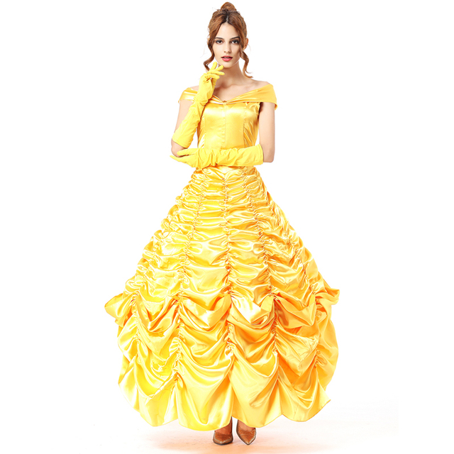 be6763588a02 Long adult princess belle costume halloween costumes for women sexy  carnival costumes womens for Beauty and