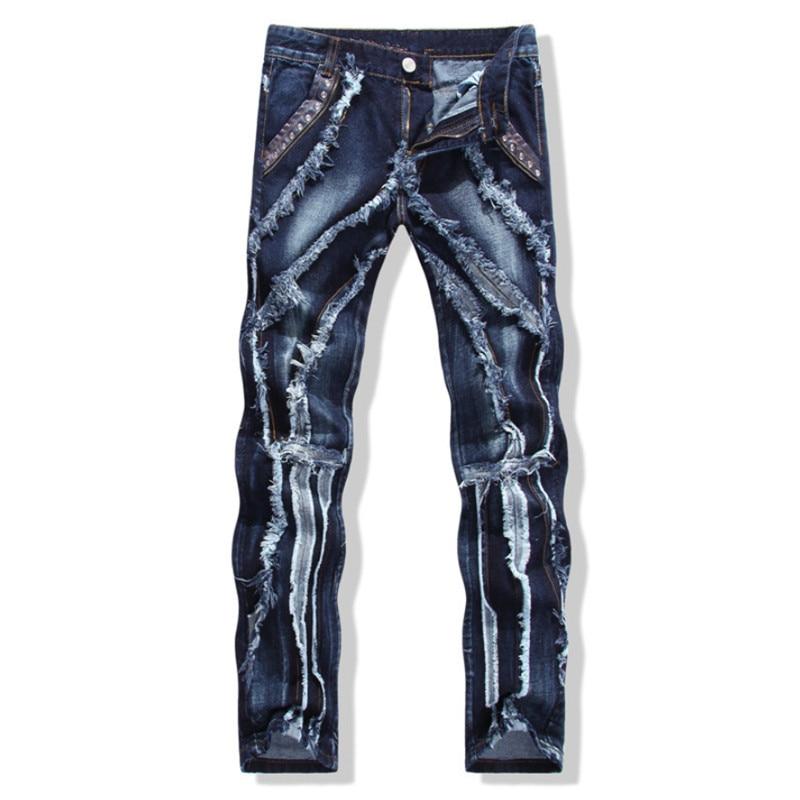 European American Style 2016 Men's jeans slim denim trousers biker men jeans luxury ripped Straight blue punk slim jeans for men 2017 fashion patch jeans men slim straight denim jeans ripped trousers new famous brand biker jeans logo mens zipper jeans 604