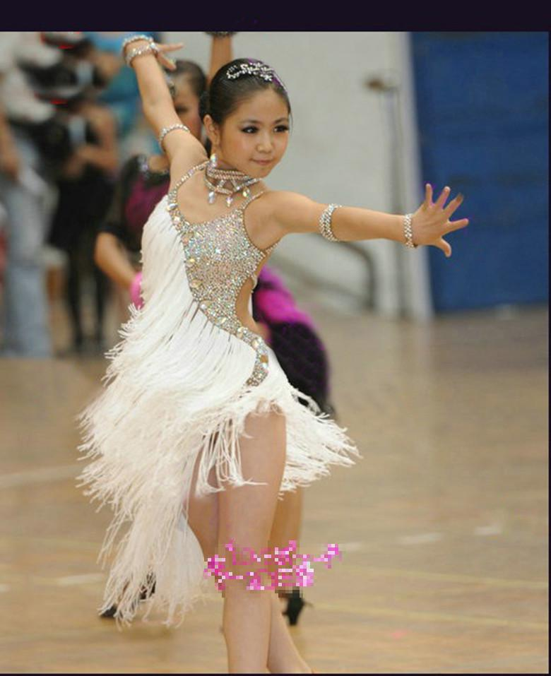 New Children's Latin Dance Dress Tassel Sequin Summer Girls Dance Costume White Competition Performance Clothing Training Suit