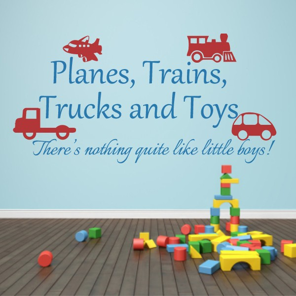 Playroom decal planes trains trucks and toys boy wall sticker playroom wall decal baby boy nursery decor 153cm x73cm in wall stickers from home garden