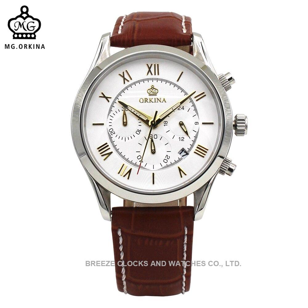 Relogios ORKINA boîte en acier inoxydable bracelet en cuir chronographe automatique Date fonction mâle horloge montre à Quartz