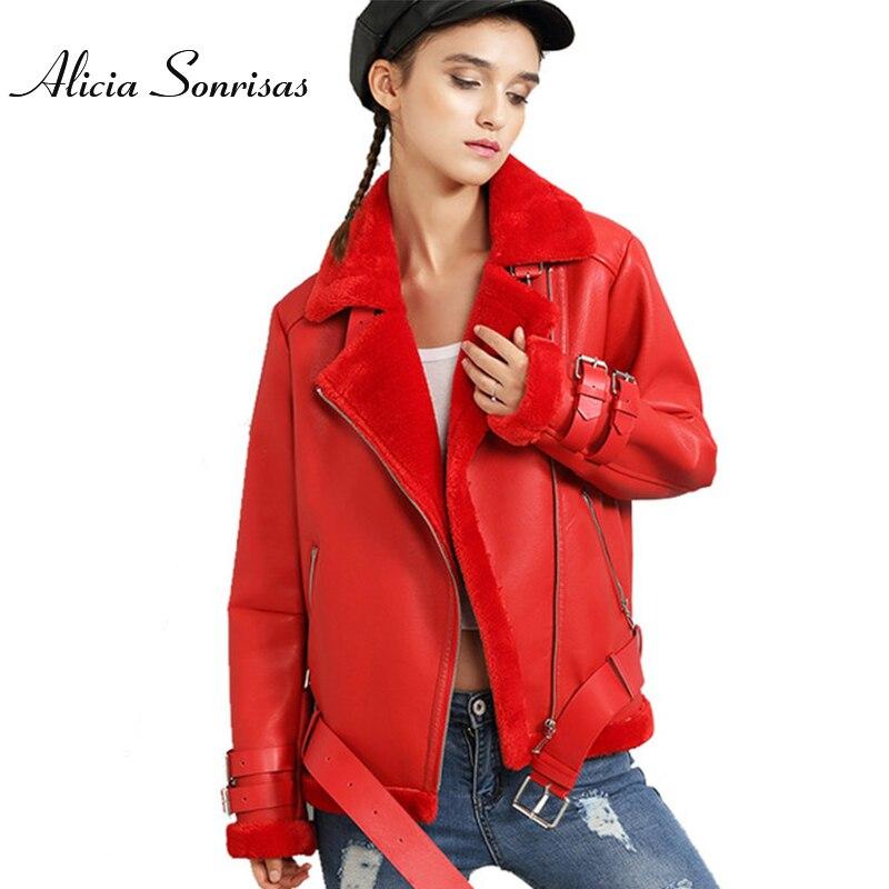 New 2016 Winter Jacket Women Thick Pu <font><b>Leather</b></font> Jacket Jackets Short Loose Lamb Wool Plus Cashmere Motorcycle Coats JS3061