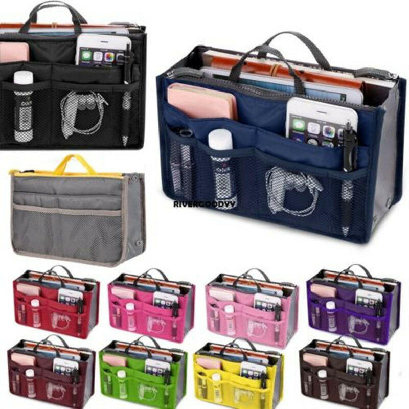 NoEnName 13 Pocket Bag In Bag Travel Insert Organizer Handbag Purse Large Liner WomenLady Makeup Organiser Bag Kids School Bags