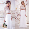Vintage Two Piece Bohemian Hippie Wedding Dresses 2016 illusion Lace Long Sleeve Chiffon Boho Wedding Gowns robe de mariage