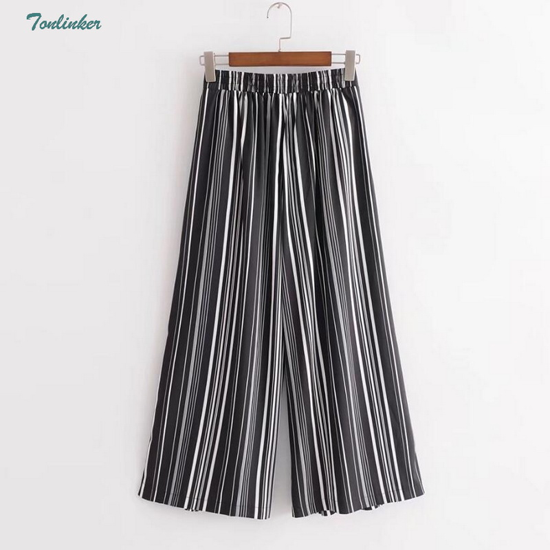 Striped   Wide     Leg     Pants   2018 New Women fashion Clothing High Waist Elastic Ankle Length Summer Loose Casual Femme   Pants