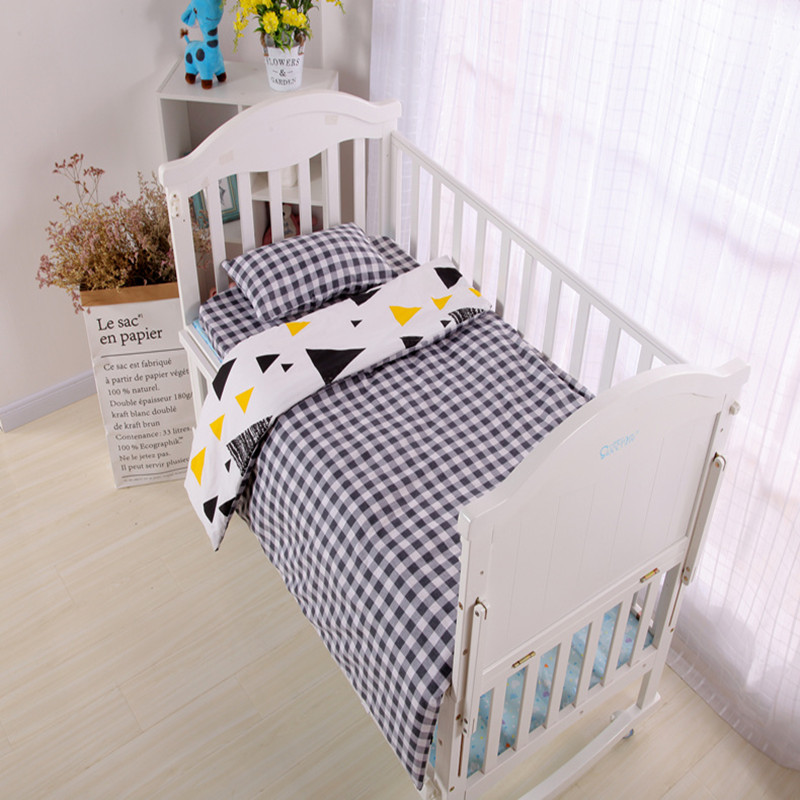 3Pcs/Set Baby Bedding Sets Soft Baby Bed Sets Cotton Cartoon AB Face Printing Quilt Cover Bed Sheet Pillow Case Baby Bedding
