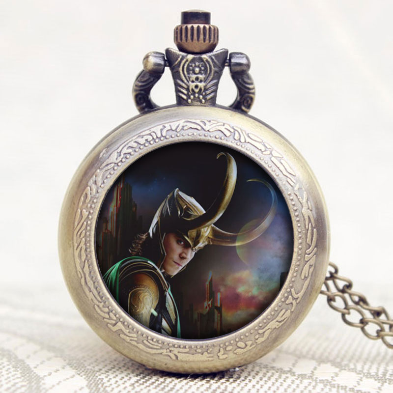 Hot Popular Movie The Avengers Loki Design Old Vintage Bronze Quartz Men Pocket Watch With Chain Necklace for Free Shipping european and american movies aladdin and the magic lamp quartz pocket watch do the old flip quartz watch chain table ds274