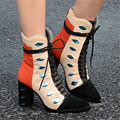 2017 Fashion New Eye Design Pointed Toe Women Ankle Boots Square Heel Short Booties Genuine Leather Lace Up Martin Botines Mujer
