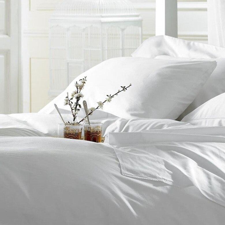 100% Coton Égyptien 1000 TC Roi Reine Taille Pur Blanc Couleur Feuille Housse de Couette Taies D'oreiller 4 pièces Ensemble Personnaliser