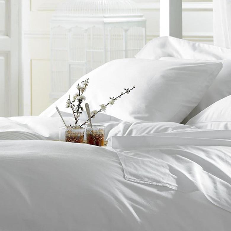 100% Egyptian Cotton 1000 TC King Queen Size Pure White Color Sheet Duvet Cover  Pillowcases 4 Pieces Set Customize