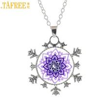 Купить с кэшбэком TAFREE vintage religious women charms jewelry Sacred geometry lotus mandala snowflake pendant buddhism necklace jewellery CT400