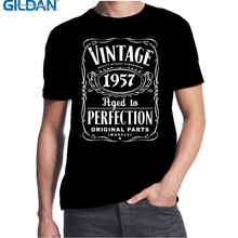 GILDAN 60th Birthday Vintage Aged To Perfection 1957 60 Years Old Gift Present T Shirt 3D Men Hot Cheap Short Male
