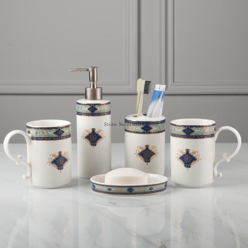High end luxury bathroom five piece European bone china wash kit Lotion bottle toothbrush holder bathroom decoration set