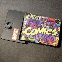Mens Slim Leather Wallet Comics Dc Marvel The Avengers Thor Hulk Spiderman Purse Logo Credit Oyster License Card Wallet