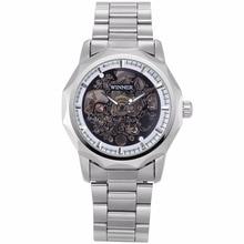 Winner Luxury Self Winding Hollow Steampunk Men's Skeleton Silver Stainless Steel Band Metal Strap Gift Mechanical Watch /PMW455