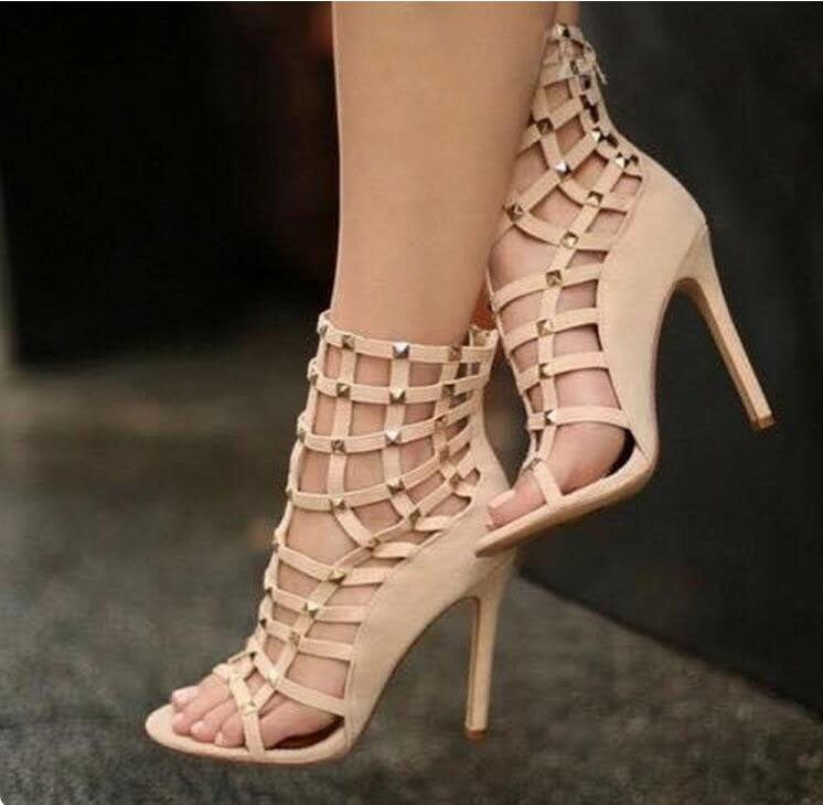 Summer gladiator sandals fashion rivets hollow out cage high heel sandals size 35 to 42 party dress shoes woman ankle sanda