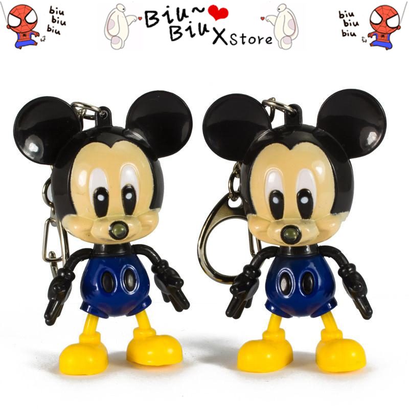 Cartoon Mickey Mouse LED Keychain with Flashlight & Sound keyring for gifts pendant /Mini Torch Light Action Toy Figures