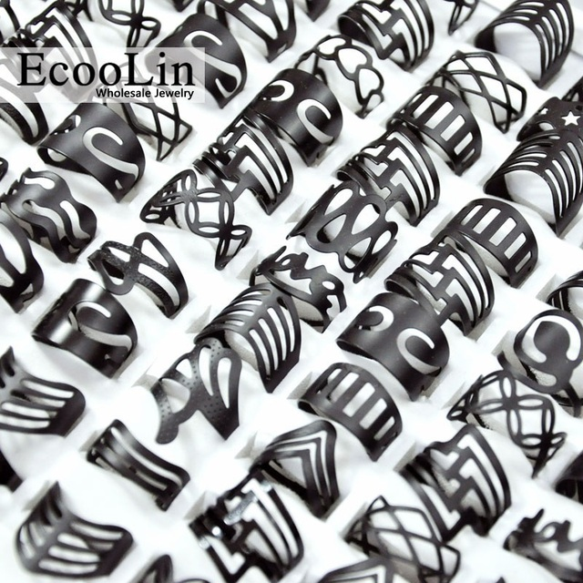 a0f9b1bdb 50Pcs Vintage Matte Black Alloy Ring Gypsy Adjustable Finger Tattoo Rings  Lots For Women Men Mix Style Jewelry Wholesale LR4040